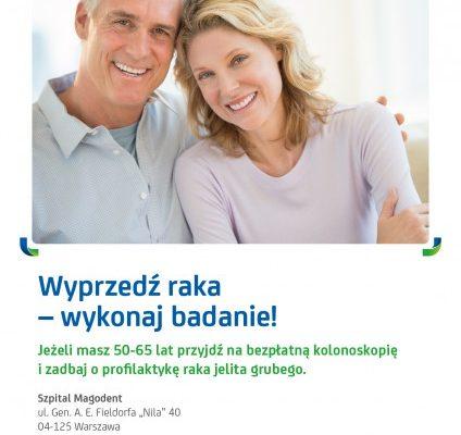 Bezpłatne – finansowane przez Ministerstwo Zdrowia badania kolonoskopowe jelita grubego w dwóch szpitalach MAGODENT. Zapraszamy!